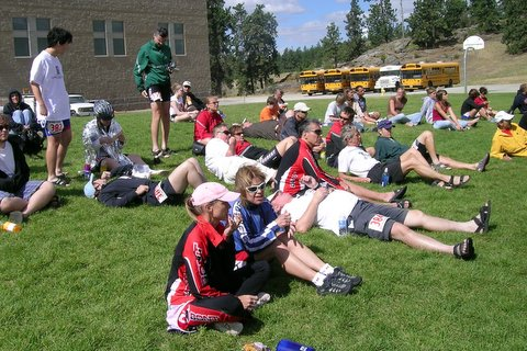 Relaxing after the race