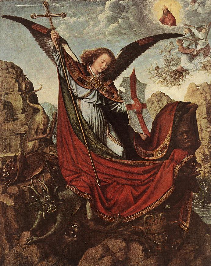 St Michael Fighting Lucifer by Gerard David c 1500