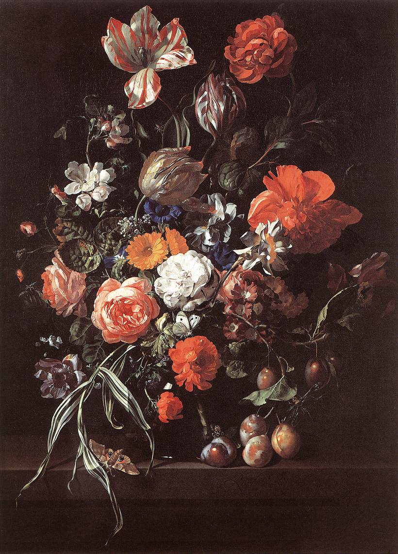 Ruysch Still Life w Bouquet of Flowers and Plums 1700