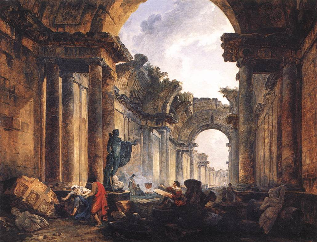 Hubert, Imaginary view of Louvre in Ruins 1796