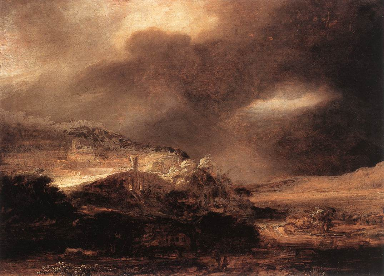 Rembrandt, Stormy Landscape